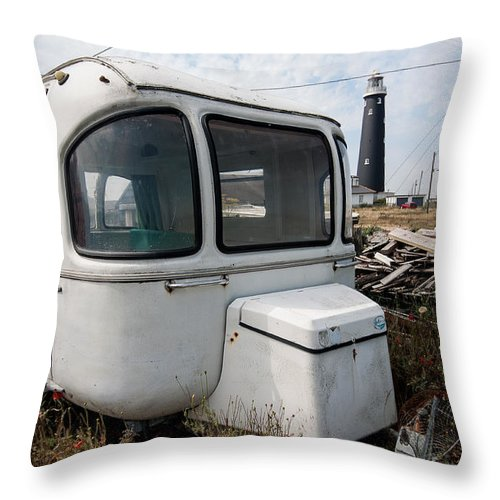 Boat Throw Pillow featuring the photograph Caravan And Lighthouse by Dawn OConnor