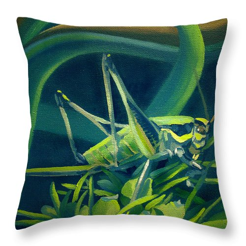 Grasshopper Throw Pillow featuring the painting Card Of Mister Grasshopper by Nancy Griswold