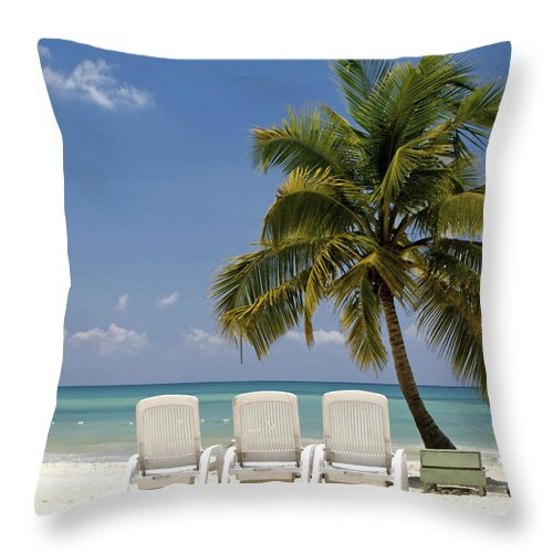 Caribbean Throw Pillow featuring the painting Caribbean Beach by Glennis Siverson