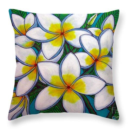 Frangipani Throw Pillow featuring the painting Caribbean Gems by Lisa Lorenz