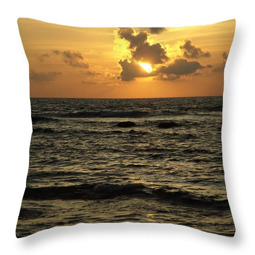 Sunrise Throw Pillow featuring the photograph Caribbean Sunrise by Barry Doherty