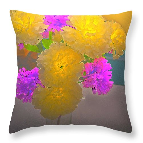 Botanical Throw Pillow featuring the photograph Carnation Glow by Debbie Portwood