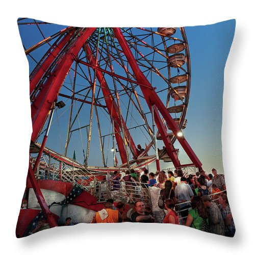 Hdr Throw Pillow featuring the photograph Carnival - An Amusing Ride by Mike Savad