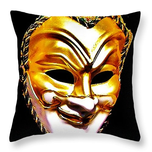 Blair Stuart Throw Pillow featuring the photograph Carnival Mask 2 by Blair Stuart