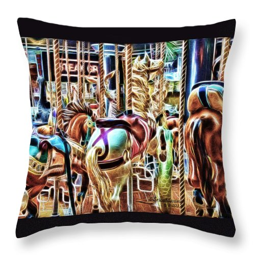 Tn Throw Pillow featuring the photograph Carousel 7 - Fractals by Ericamaxine Price
