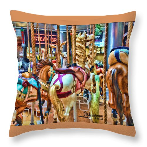 Tn Throw Pillow featuring the photograph Carousel 7 Hdr by Ericamaxine Price