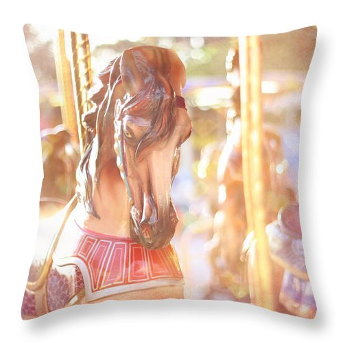 Carousel Throw Pillow featuring the photograph Carousel Dream by Amy Tyler
