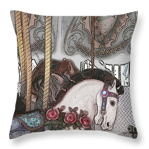 Horse Throw Pillow featuring the painting Carousel by Kami Catherman