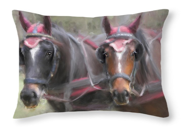 Horse Throw Pillow featuring the painting Carriage Horses Pleasure Pair by Connie Moses