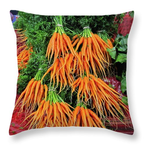 Nature Throw Pillow featuring the photograph Carrot Bunches by Sean Griffin