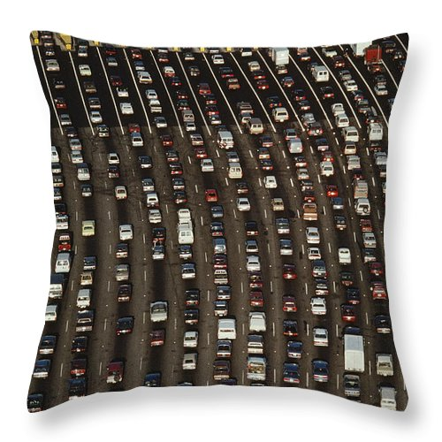 San Francisco Bay Bridge Throw Pillow featuring the photograph Cars Queue Up At A Tollbooth On The Bay by James A. Sugar