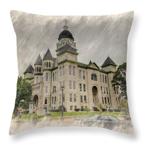 Architecture Throw Pillow featuring the photograph Carthage Courthouse by Ricky Barnard