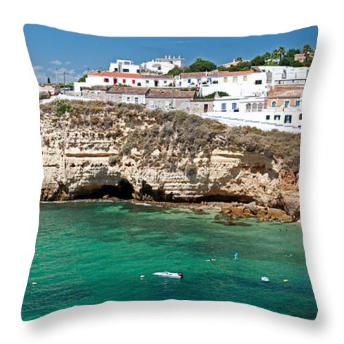 Seaside Throw Pillow featuring the photograph Carvoeiro Panorama by Jim Chamberlain
