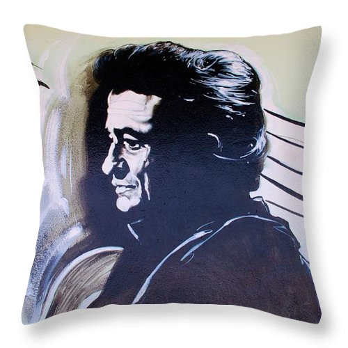 Johnny Cash Throw Pillow featuring the photograph Cash by Rob Hans