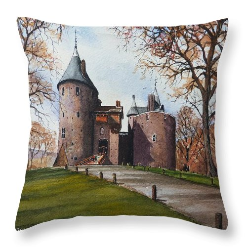 Castell Coch Throw Pillow featuring the painting Castell Coch by Andrew Read