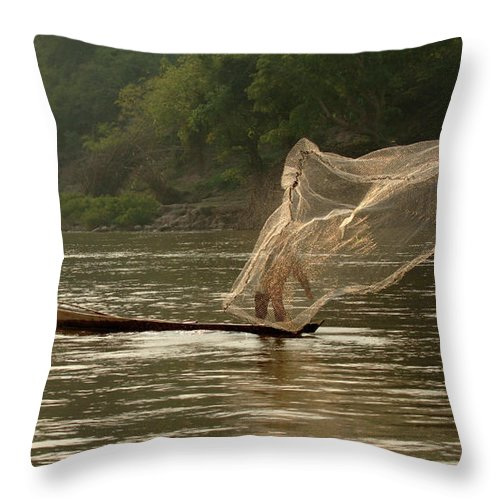 Mekong Throw Pillow featuring the photograph Casting A Net by Bob Christopher