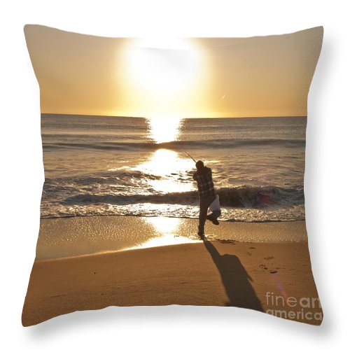 Beach Throw Pillow featuring the photograph Casting To The Sun by Jim Moore