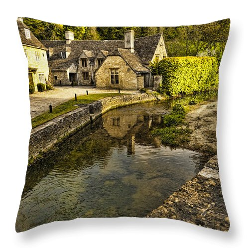 Castle Combe Throw Pillow featuring the photograph Castle Combe Bridgeside by Jon Berghoff