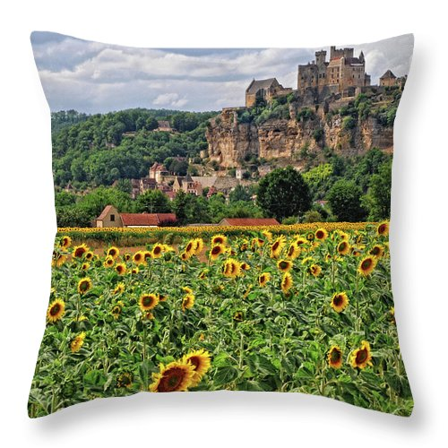 Castle Throw Pillow featuring the photograph Castle In Dordogne Region France by Dave Mills