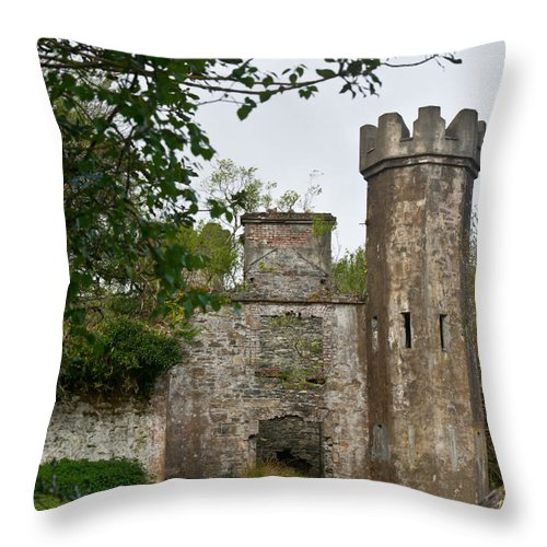 Throw Pillow featuring the photograph Castle Near Upper Lake Kilarney Irelnad by Douglas Barnett