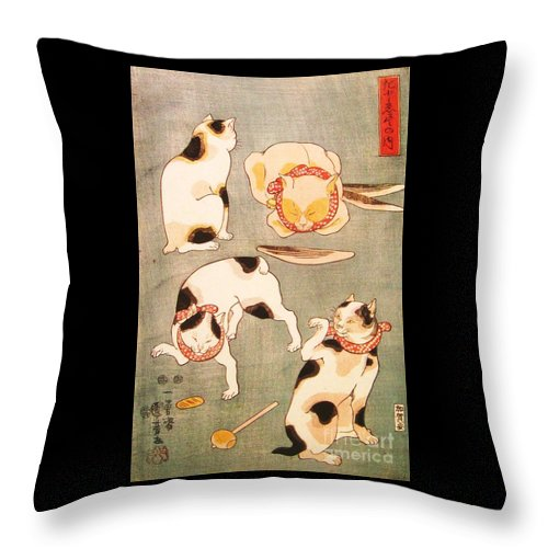Reproduction Throw Pillow featuring the painting Cat Poses by Pg Reproductions