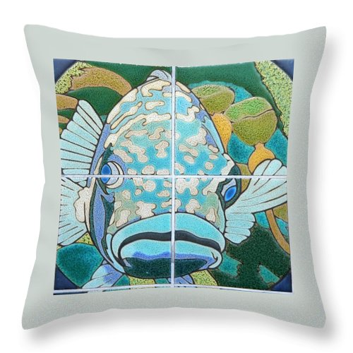 Catalina Tile Throw Pillow featuring the photograph Catalina Tile Blue Fish by Jeff Lowe