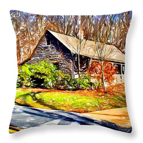 Catoctin Mountain Park Throw Pillow featuring the digital art Catoctin Visitor Center by Stephen Younts