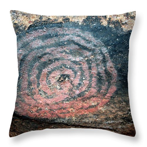 Uluru Throw Pillow featuring the photograph Cave Painting At Uluru by Laurel Talabere