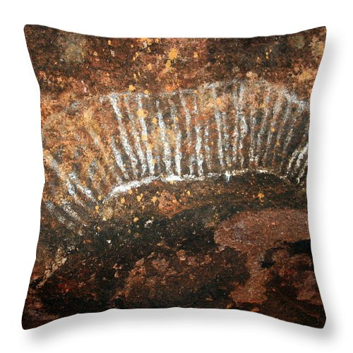 Witchittey Grub Throw Pillow featuring the photograph Cave Painting Of A Witchittey Grub by Laurel Talabere