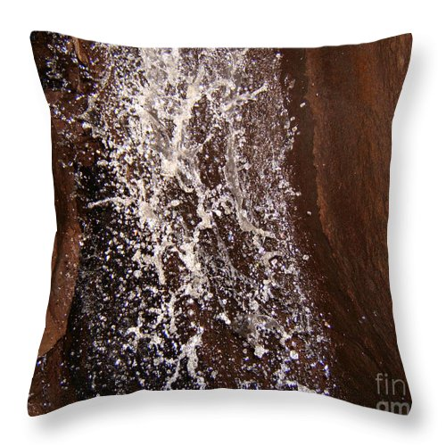 Artoffoxvox Throw Pillow featuring the photograph Cave Waterfall At Pinnacles Photograph by Kristen Fox