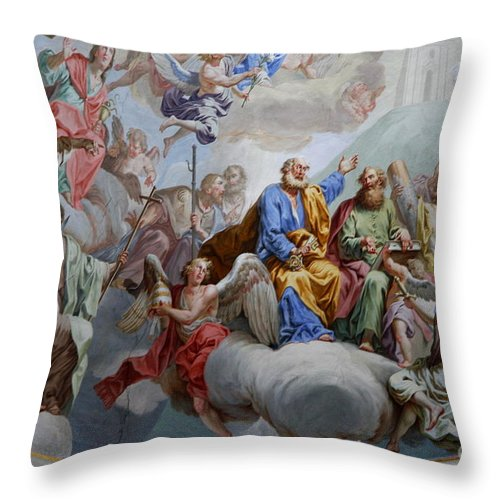 Ceiling Fresco Throw Pillow featuring the photograph Ceiling Fresco - Karls Church by Christiane Schulze Art And Photography