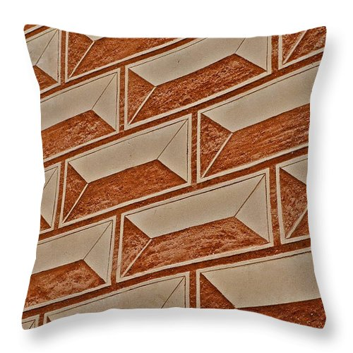 Cement Block Wall Design Throw Pillow featuring the photograph Cement Block Wall Design by Kirsten Giving