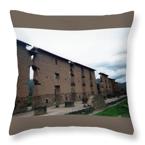 The Central Wall Throw Pillow featuring the photograph Central Wall - Temple Of Wiracocha Raqchi Peru by Ronald Osborne