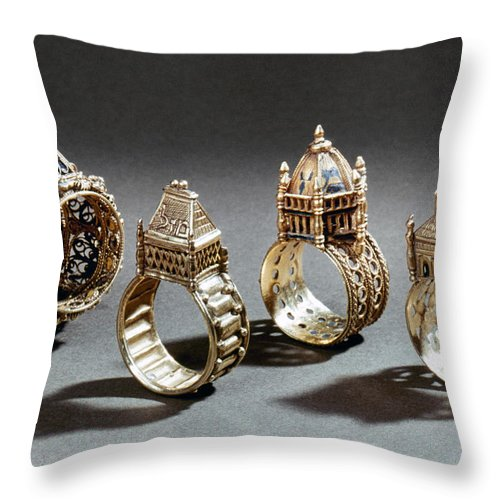 18th Century Throw Pillow featuring the photograph Ceremonial Marriage Rings by Granger