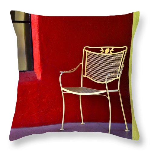 Chair Throw Pillow featuring the photograph Chair On The Balcony by Carol Leigh