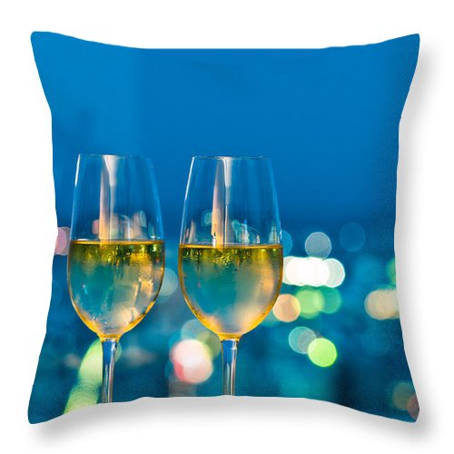 Alcohol Throw Pillow featuring the photograph Champagne Glasses In Front Of A Window by U Schade
