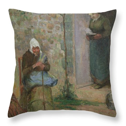 Charity Throw Pillow featuring the painting Charity by Camille Pissarro