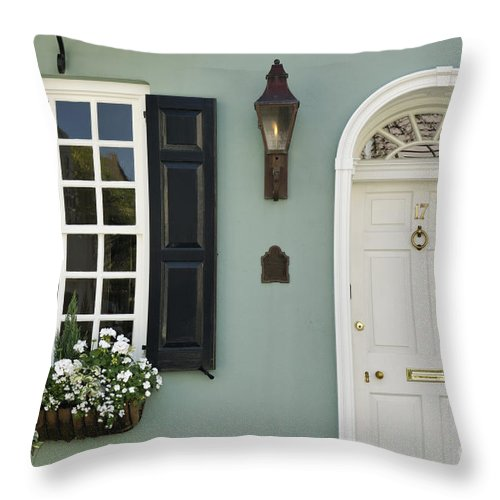 Detail Throw Pillow featuring the photograph Charleston Doorway - D006767 by Daniel Dempster