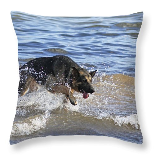 Chasing The Waves Throw Pillow featuring the photograph Chasing The Waves by Inspired Nature Photography Fine Art Photography