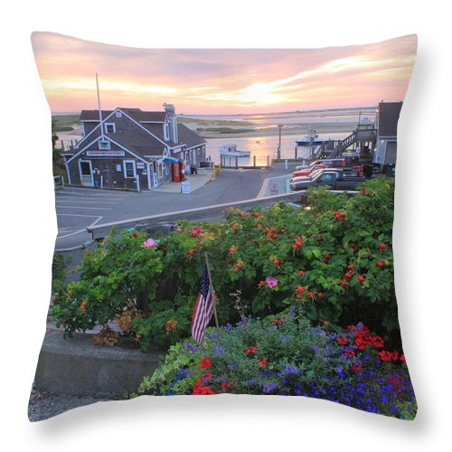 Chatham Throw Pillow featuring the photograph Chatham Fish Pier Summer Flowers Cape Cod by John Burk