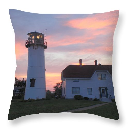 Lighthouse Throw Pillow featuring the photograph Chatham Lighthouse Sunset by John Burk