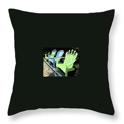 Chairs Throw Pillow featuring the photograph Cheerful Adirondacks by Michelle Constantine