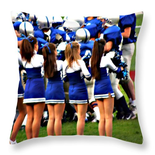 People Throw Pillow featuring the photograph Cheerleaders by Susan Stevenson