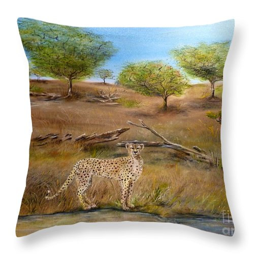 Cheetah Throw Pillow featuring the painting Cheetah Stops To Take A Drink by John Garland Tyson