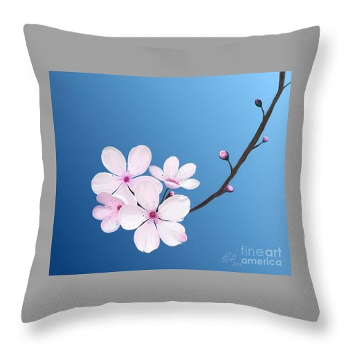 Flowers Throw Pillow featuring the painting Cherry Blossoms by Rand Herron