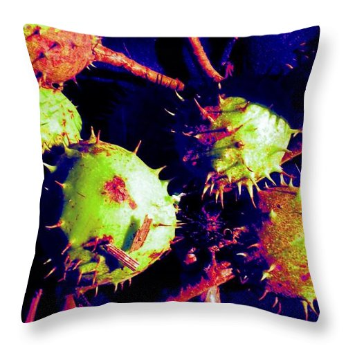Chestnut Throw Pillow featuring the painting Chestnut Pods 1 by Renate Nadi Wesley