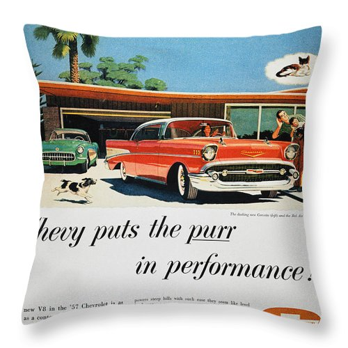 1957 Throw Pillow featuring the photograph Chevrolet Ad, 1957 by Granger