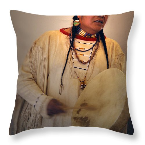 Drum Throw Pillow featuring the photograph Cheyenne Native American Drummer by Nancy Griswold
