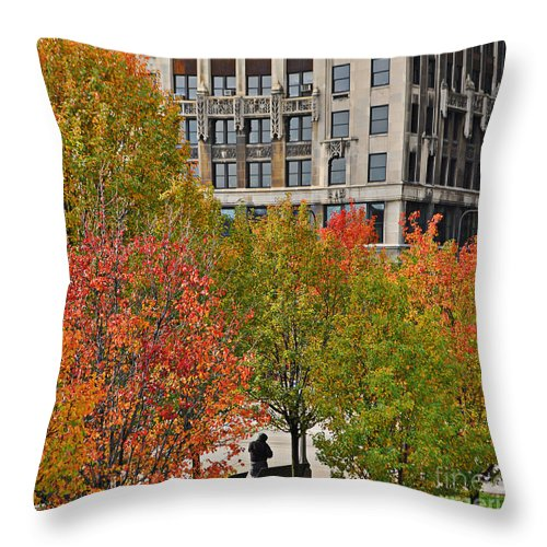 Chicago Throw Pillow featuring the photograph Chicago In Autumn by Mary Machare