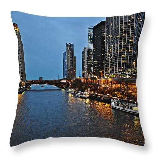 Chicago River Throw Pillow featuring the photograph Chicago River At Twilight by Mary Machare